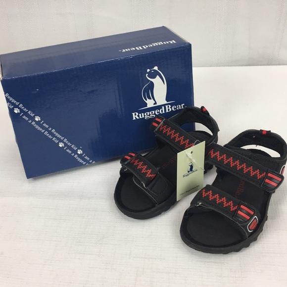 Black//Fuchsia 2 Youth Rugged Bear Boys Sport Sandals